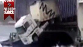 TIR sürücüsü el frenini çekmeyi unutursa video izle..