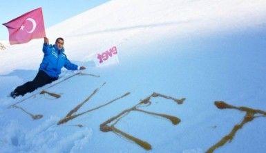 Aydın Aydın kar üzerine balla 'Evet' yazdı