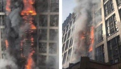 Çin'de 20 katlı binada korkutan yangın