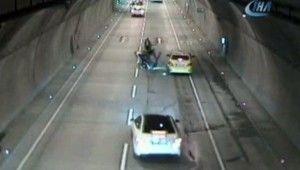 Dolmabahçe Tüneli'ndeki kaza kamerada