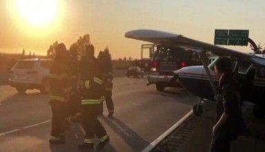 Arızalanan uçak otoyola iniş yaptı