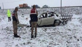 Erzurum'da trafik kazası, 1 ölü, 2 yaralı