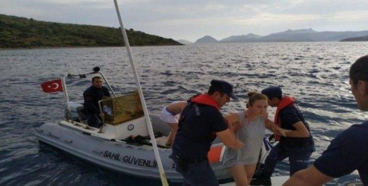 Mahsur kalan biri hamile 5 kişinin imdadına Sahil Güvenlik yetişti