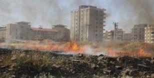 Şehir merkezinde çıkan arazi yangını çevredeki binaları etkiledi