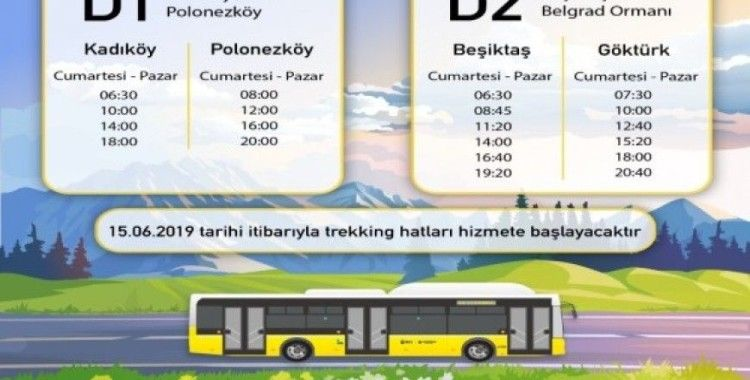 İETT'nin trekking hatları 15 Haziran'da sefere başlıyor