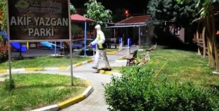 Ergene'de çocuk parkları, dinlenme alanları dezenfekte edildi