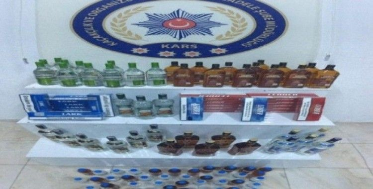 Kars'ta 84 şişe kaçak içki ele geçirildi
