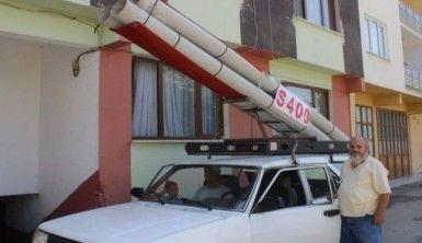 Aracına monte ettiği 'S-400'lerle şehir turu attı