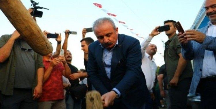 TBMM Başkanı Şentop tokmakla buğday dövdü