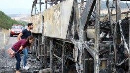 Yine otobüs yangını,50 yolcu ölümden döndü