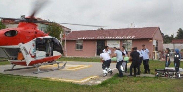 Yaralanan motosiklet sürücüsü için helikopter havalandı