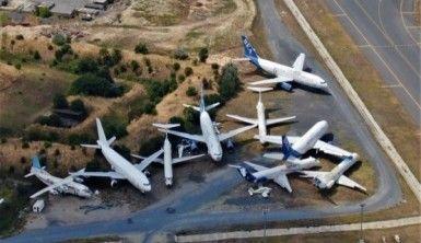 Uçak mezarlığı havadan görüntülendi