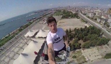 Parkur sporcusu 'Emine Bulut' için baz istasyonuna tırmandı
