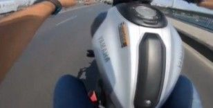 (Özel) İstanbul'da motosikletli ithal magandanın tek teker terörü kamerada