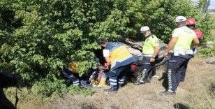 Şarampole uçan otomobil takla attı: 1 yaralı