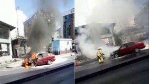 Patlamaların yaşandığı aracı yangın tüpüyle söndürmeye çalıştı