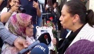Ak Parti milletvekili Oya Eronat HDP  binası önünde oturma eylemi yapan ailelere destek için HDP il binası önüne geldi
