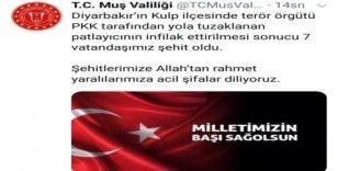 Muş Valiliğinden Diyarbakır'daki sivil şehitler için taziye mesajı