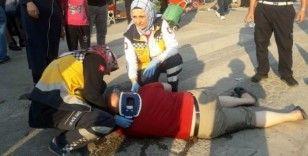 Sakarya'da bisikletli kadının çarptığı adam yaralandı