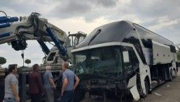 Giresun'da yolcu otobüsü kaza yaptı