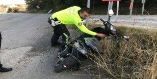 Yeni aldığı motosikleti ile kaza yaptı