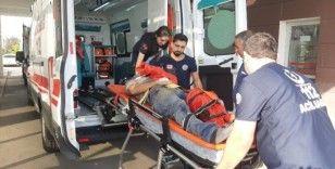 Yüksekten düşen inşaat işçisi yaralandı