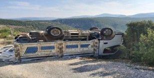 Ters dönen kamyondan burnu bile kanamadan çıktı
