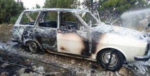 Otomobil ormanlık alanda alev aldı