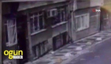 Örümcek adam gibi duvara tırmanan hırsız kamerada