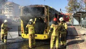 Otobüs alev aldı, şoförün dikkati faciayı önledi