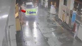 Akaryakıt istasyonu hırsızları güvenlik kamerasında