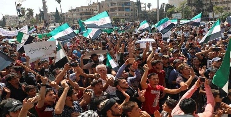 İdlib'te HTŞ protesto edildi