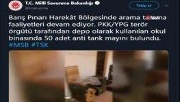 Barış Pınarı Harekatı bölgesinde 50 adet anti-tank mayını bulundu