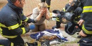 Yangında telef olan kedileri için gözyaşı döktü
