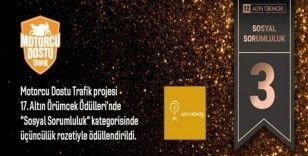 Motorcu Dostu Trafik projesine 'Altın Örümcek' ödülü
