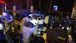 Beşiktaş'ta panelvan araç devrildi, 1 yaralı