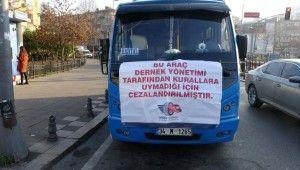 Pendik-Kadıköy hattında kurallara uymayan minibüs şoförlerine pankartlı ceza