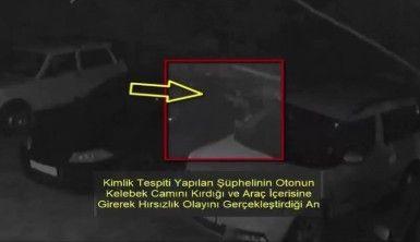 Park halindeki araçları soydu, kameralara yakalandı
