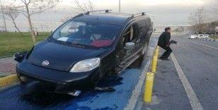 (Özel) Babasından uyurken arabayı kaçıran genç, drift yaparaken polise yakalandı, kaza yaptı