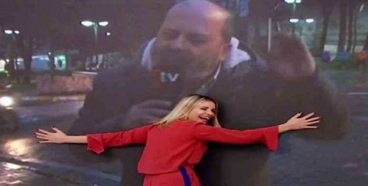 Esra Erol sevincini gizleyemedi, led ekranda bulunan muhabirinin görüntüsüne sarıldı