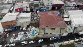 Sultangazi'de göçüğün meydana geldiği iş yeri havadan görüntülendi