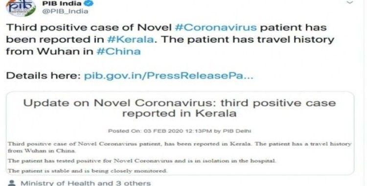 Hindistan'da 3. korona virüsü vakası