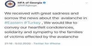 Gürcistan'dan Türkiye'ye Van için taziye mesajı