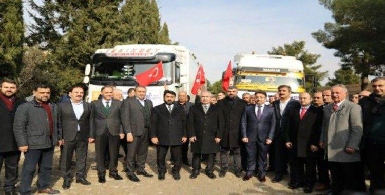 Mardin'den Elazığ ve İdlib'e yardım tırları gönderildi