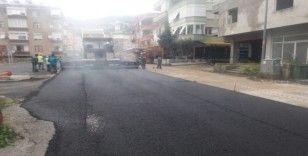 Hacet mahallesinde sıcak asfalt