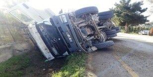 Beton direği yıkan kamyon şarampole devrildi: 1 yaralı