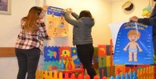 Aile İçi Şiddetle Mücadele Bürosunda, çocuklar için mini oyun parkı kuruldu