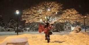 Erzincanlılar beyaz örtünün mutluluğunu yaşadı