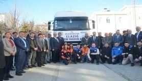 Bilecik'ten Elazığ'a depremzedeler için yardım tırı uğurlandı