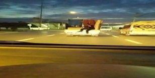 Bursa'da trafikteki tehlikeli yolculuk vatandaşları korkuttu